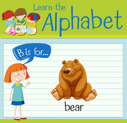 Flashcard letter B is for bear