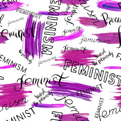 Handwritten text: Feminist, feminism, proud feminist, smash the patriarchy.   Feminism quote. Feminist saying. Brush lettering. Violet abstract stains.  Seamless vector pattern.