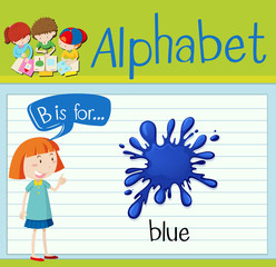 Flashcard letter B is for blue