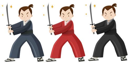 Samurai in three colors costume