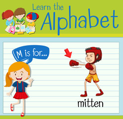 Flashcard alphabet M is for mitten