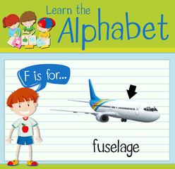 Flashcard letter F is flor fuselage