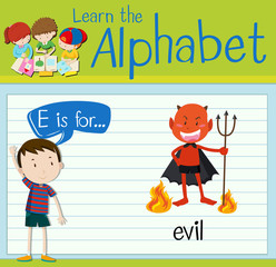 Flashcard alphabet E is for evil