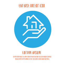 Hand holding house vector icon. Real estate symbol. Vector illustration EPS 10.