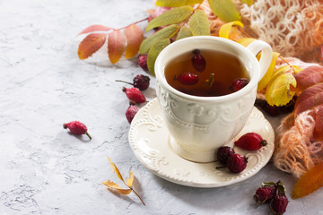 Tea from the hips and autumn leaves on a concrete background. Se