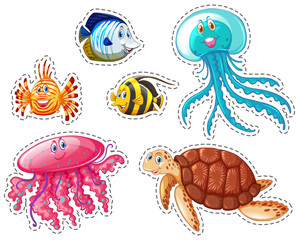 Sticker set of sea animals