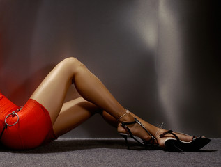 sexy woman legs with luxury fashion shoes