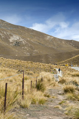 Scenic lookout of Lindis Pass on State Highway 8 (Tarras - Omarama - Lindis Pass Road), lies between the valleys of the Lindis and Ahuriri Rivers, south island of New Zealand