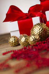 Christmas balls, Gift box with red ribbon, Holiday background