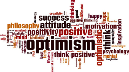 Optimism word cloud concept. Vector illustration