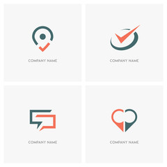 Business and contacts vector logo. Address pointer with check mark, circle with tick, dialog and love meeting symbol - location, chat and time icons.