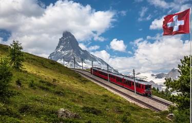 Swiss beauty, rack railway under breathtaking Matterhorn