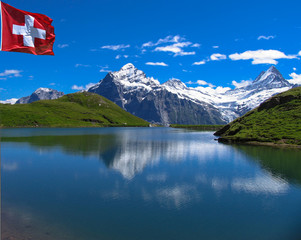 Swiss beauty, Schreckhorn and Wetterhorn  from Bachalpsee level,Grindelwald,Bernese Oberland,Switzerland,Europe