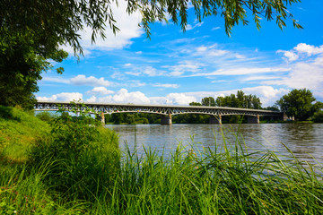 Steel bridge over the Labe river in Litomerice