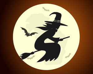 Halloween witch flying on a broom on full moon background