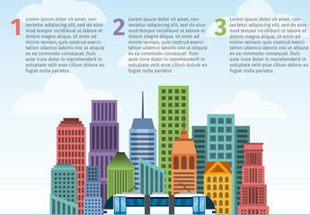 Cityscape and Elevated Train Illustration Infographic