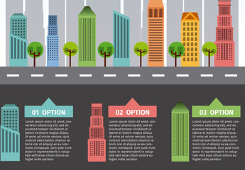 Cityscape and Road Illustration Infographic