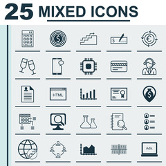 Set Of 25 Universal Editable Icons. Can Be Used For Web, Mobile And App Design. Includes Icons Such As Analysis, Digital Media, Chemical And More.