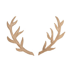 Watercolor deer antler isolated on white background