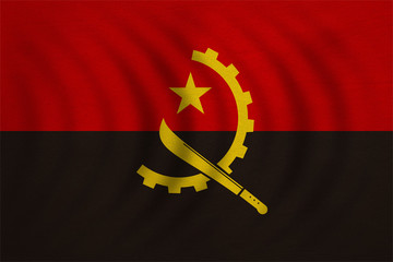 Flag of Angola wavy, real detailed fabric texture