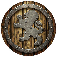 Round oak shield with rivets and metal Lev