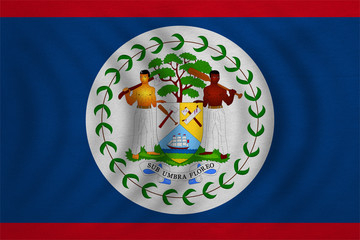 Flag of Belize wavy, real detailed fabric texture