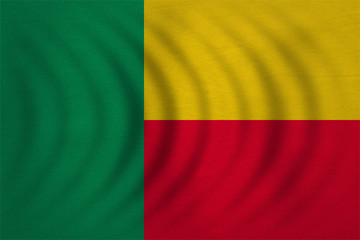 Flag of Benin wavy, real detailed fabric texture