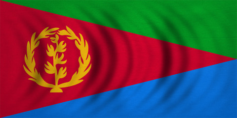 Flag of Eritrea wavy, real detailed fabric texture
