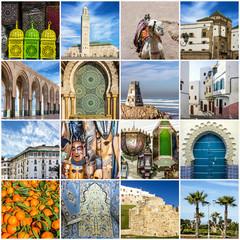 Morocco travel collage - Moroccan landmarks, Casablanca, Tanger