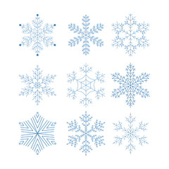 Various winter snowflakes vector set.