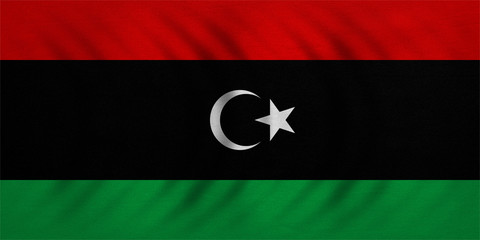 Flag of Libya wavy, real detailed fabric texture