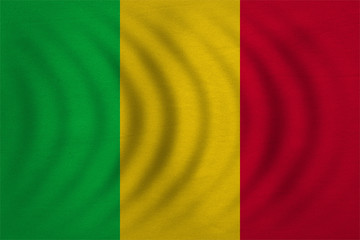 Flag of Mali wavy, real detailed fabric texture