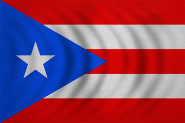 Flag of Puerto Rico wavy, detailed fabric texture