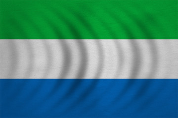 Flag of Sierra Leone wavy, detailed fabric texture
