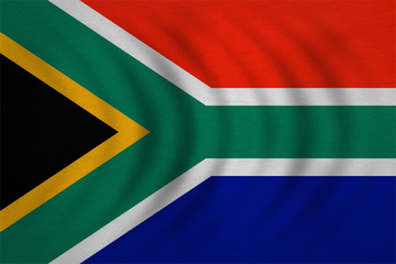 Flag of South Africa wavy, detailed fabric texture