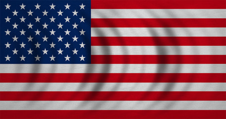 Flag of USA wavy, real detailed fabric texture