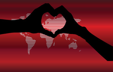 hand heart silhouette and worldmap background beautiful banner w