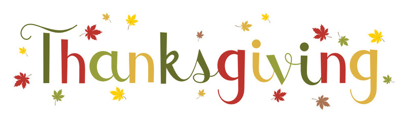 HAPPY THANKSGIVING faux calligraphy banner with autumn leaves