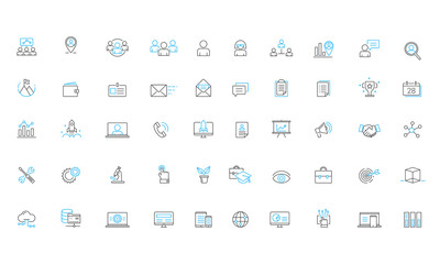 Business Services Software solutions Vector Line Icon Set