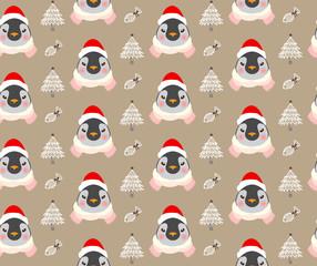 Christmas cute penguins pattern vector