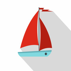 Boat icon. Flat illustration of boat vector icon for web