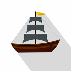 Boat with sails icon. Flat illustration of boat with sails vector icon for web