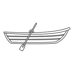 Boat with paddle icon. Outline illustration of boat with paddle vector icon for web