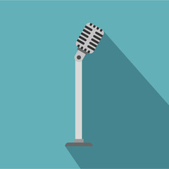 Microphone on stand icon. Flat illustration of microphone on stand vector icon for web