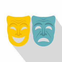 Happy and sad mask icon. Flat illustration of happy and sad mask vector icon for web