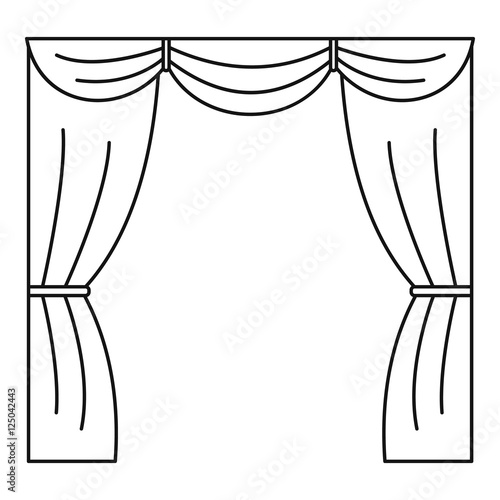"""Curtain on stage icon. Outline illustration of curtain on ..."