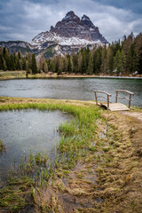 Small lake on a cloudy day in the Dolomites