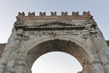 Arch of Augustus at sunset in Rimini, Italy