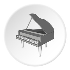 Black grand piano icon. Cartoon illustration of black grand piano vector icon for web