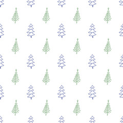 Seamless Christmas Pattern With Fir Tree